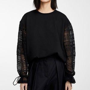 NWT See By Chloe Cotton Fleece Lace Sweatshirt S
